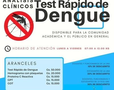 Ofrecen test rápido de dengue en la UNA