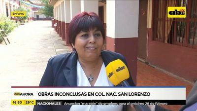 Obras inconclusas en colegio nacional San Lorenzo