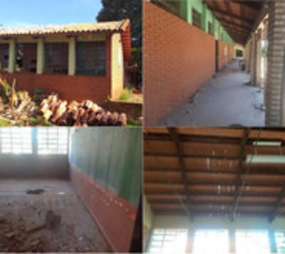 Obras inconclusas en escuela de Juan León Mallorquín genera protestas