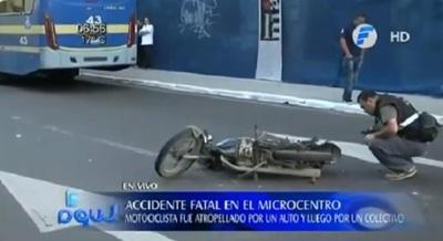 Motociclista fallece tras ser arrollado por un ómnibus