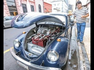 PARAGUAYO TRANSFORMÓ FUSCA ANTIGUO EN AUTO ELÉCTRICO