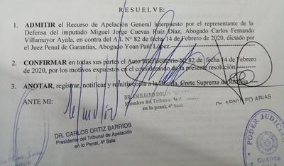 Prisión preventiva de Miguel Cuevas fue confirmada por Cámara de Apelaciones