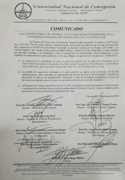 Concepción: Instituciones educativas acatan normativa del gobierno y suspenden clases