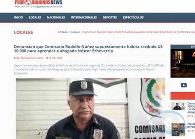 Comisario Rodolfo Núñez habría recibido supuestamente 10 mil dólares para que se le detenga a Nestor Echeverria