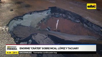 """Enorme """"cráter"""" sobre Mariscal López y Tacuary"""