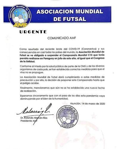 Suspenden mundial C15 de fútbol de salón