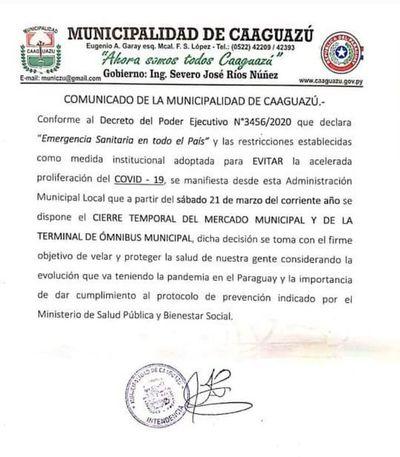 Coronavirus: Cierran mercado y terminal de Caaguazú