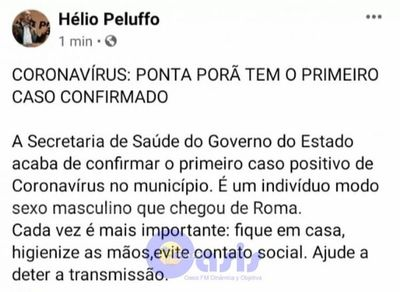 Confirman primer caso de Coronavirus en Ponta Porã