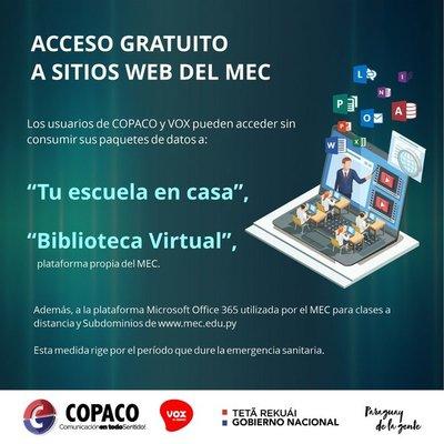 Copaco libera acceso a sitios del MEC para clases virtuales