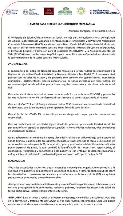 MJ insta a tomar conciencia sobre la tuberculosis en Paraguay