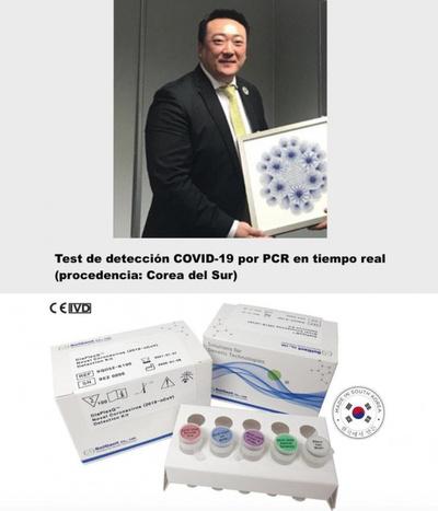 Empresario coreano donará 5 mil kits de Test de detección COVID-19 por PCR en tiempo real (procedencia: Corea del Sur).