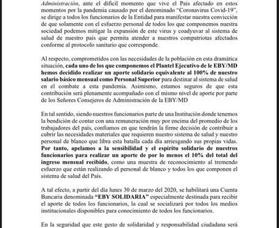 Coronavirus: Ejecutivos de Yacyretá donan el 100% de sus salarios a Salud Pública