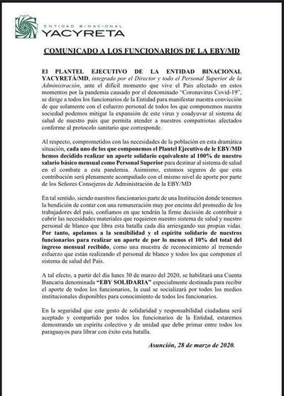 COVID-19: Directivos de la EBY donan sus salarios e instan a todos los funcionarios a dar su aporte