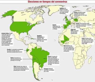 La pandemia por el covid-19 obliga a  suspender elecciones a nivel mundial