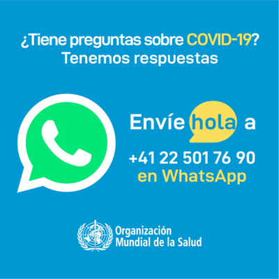 Salud Pública divulga chat de Whatsapp de la OMS para actualizarse sobre coronavirus