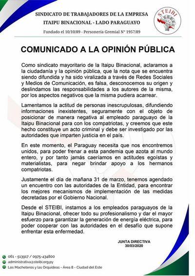 "Sindicato de Itaipú asegura que nota viralizada ""es falsa"""
