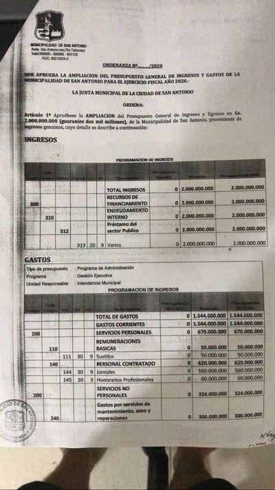 Comuna de San Antonio no tiene dinero y solicitará préstamo de G. 2.000 millones