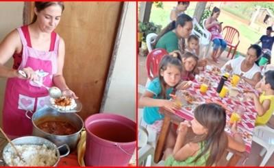 Vecinos se unen en olla popular para niños en Minga Guazú