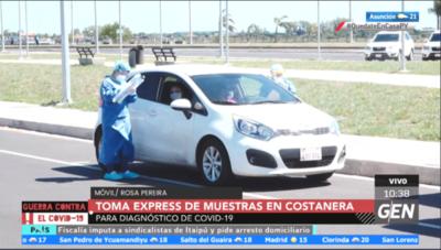 HOY / En la Costanera de Asunción se realizan muestras exprés a personas que ya están siendo seguidas por el Ministerio de Salud