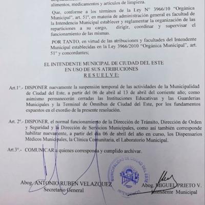 La Municipalidad seguirá cerrada hasta el 13 de abril