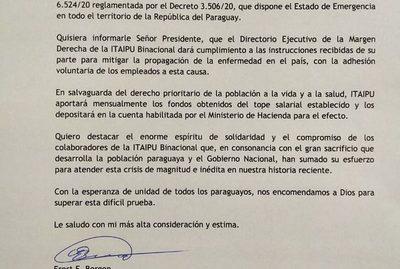 Itaipú cumplirá con disposición de Abdo y depositará topes salariales a Hacienda