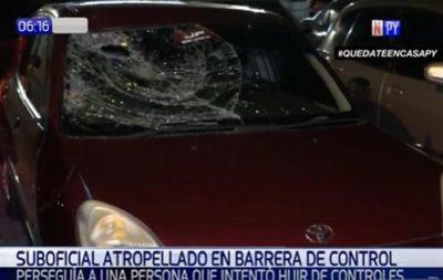Atropellan a suboficial en pleno control policial