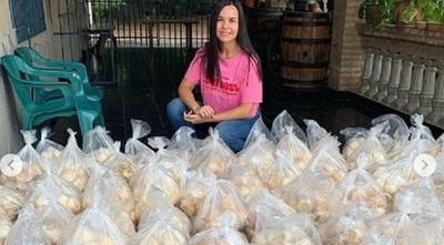 El aporte solidario de Meli Quiñónez para asentamientos de San Antonio