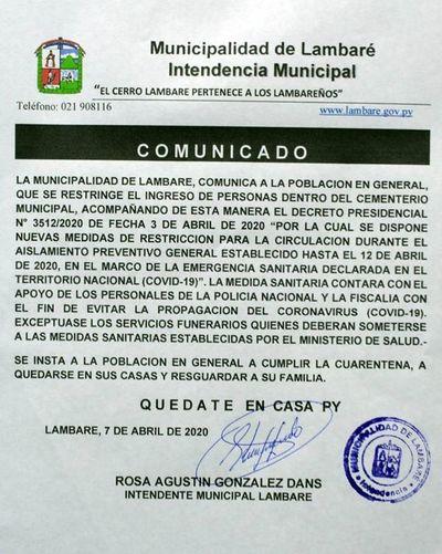 Municipios prohíben el ingreso a cementerios