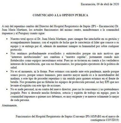 Funcionarios del Hospital Respiratorio de Itapúa cuestionan destitución