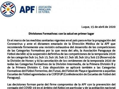 La APF suspende    todas las Formativas del año 2020
