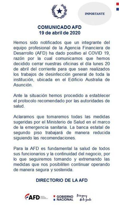 Funcionario de AFD dio positivo al covid-19 y oficinas estarán cerradas hoy