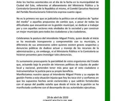 Se pronuncian a favor de Prieto y fustigan contra parcialidad de organismos del Estado