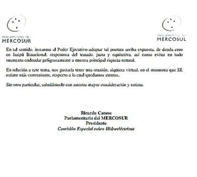 Piden informe al vicepresidente sobre posible préstamo de Itaipú