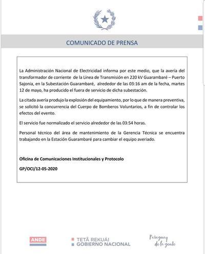 ANDE informa sobre normalización del transformador en subestación Guarambaré
