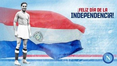 Napoli recuerda a su gran 'estrella' guaraní y la Independencia del Paraguay