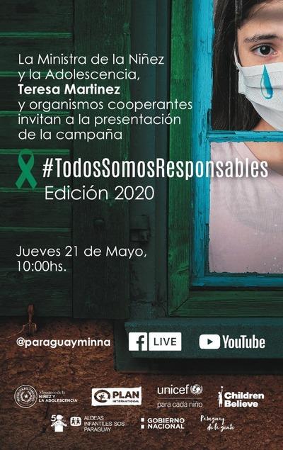 """Niñez y Adolescencia presenta online campaña """"Todos Somos Responsables"""""""