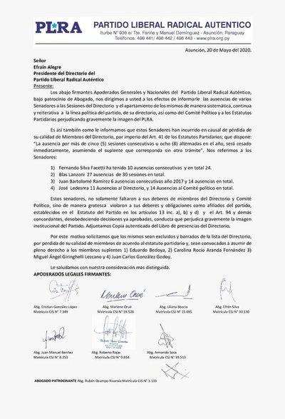 Efraín Alegre anunció la expulsión de cuatro miembros del directorio del PLRA