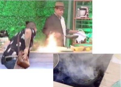 ¡Miniincendio en set de TV!