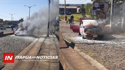 INCENDIO VEHICULAR SOBRE RUTA 6 CAUSA SUSTO EN ARROYO PORA