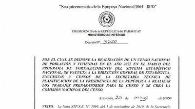 Decreto establece censo nacional para el año 2022 tras el fiasco de 2012