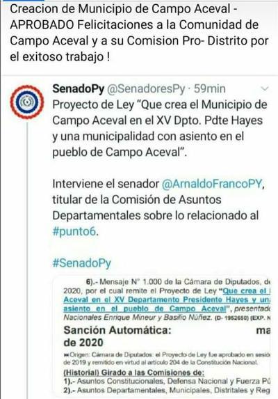 Senado aprueba la creación del distrito de Campo Aceval