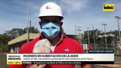 Santa Rosa del Aguaray: incendio en subestación de la Ande