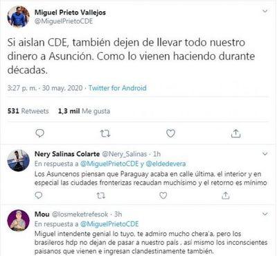 """""""Si aíslan a CDE, también dejen de llevar nuestro dinero a Asunción"""", señala Prieto"""