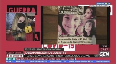 HOY / Siguen las investigaciones de la desaparición de Juliette, el testigo clave es amigo de Reiner y ya habría salido del país