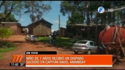 Capitán Bado: Un niño de 7 años recibe un disparo en la frente