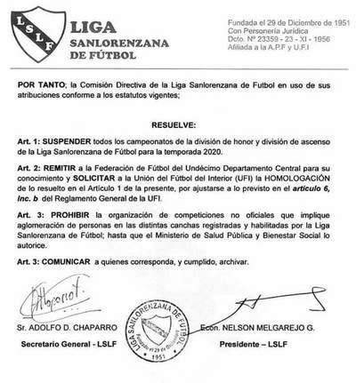 Liga Sanlorenzana de Fútbol: Solicitan la suspensión total del torneo 2020