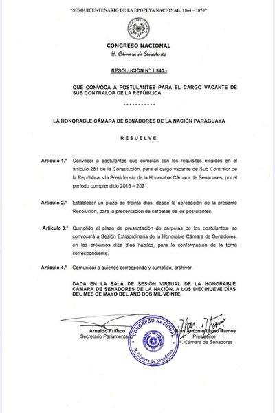 Constitucionales del Senado inicia proceso de elección del subcontralor de la República