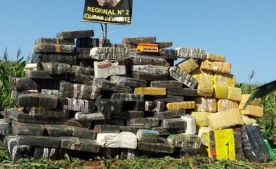 Incautan más de 3,4 toneladas de droga en cercanías a Lago Itaipu