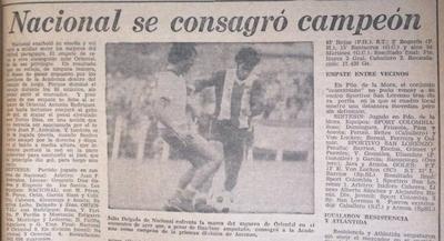 HOY / Nacional regresaba a Primera, 41 años atrás