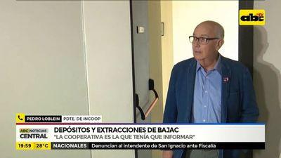 Cooperativa debía informar sobre depósitos y extracciones de Bajac